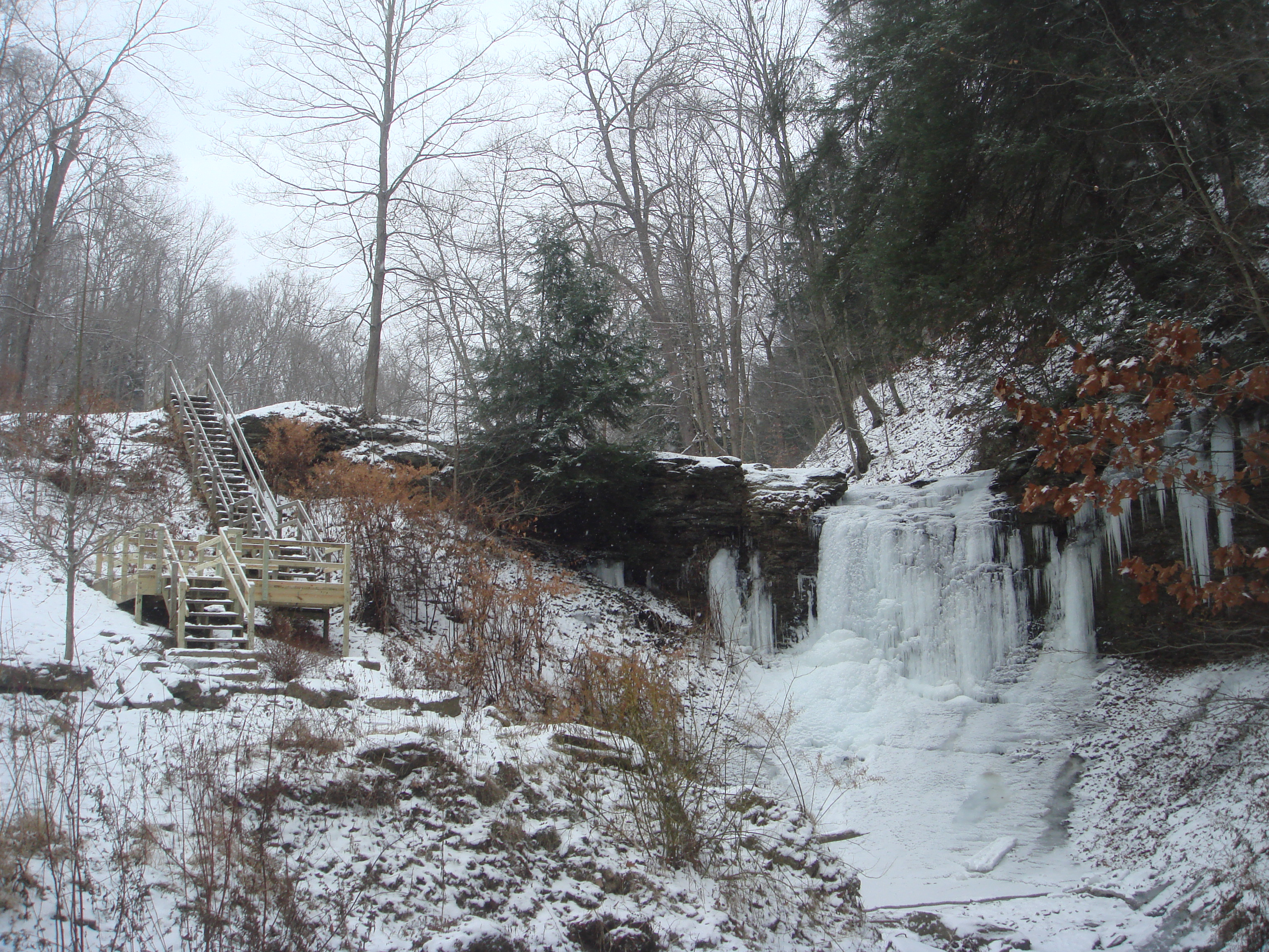 Stairs and (frozen) waterfall at Fall Run Park (Photo by Andrew)