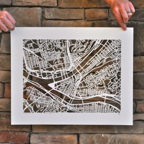 Handcut Map of Pittsburgh