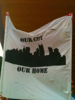 One of the banners found in the Steel Army supporters section