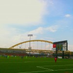 A view of the Fort Pitt Bridge from Highmark Stadium