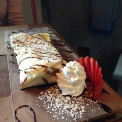 Whipped Nutella stuffed into a crepe.