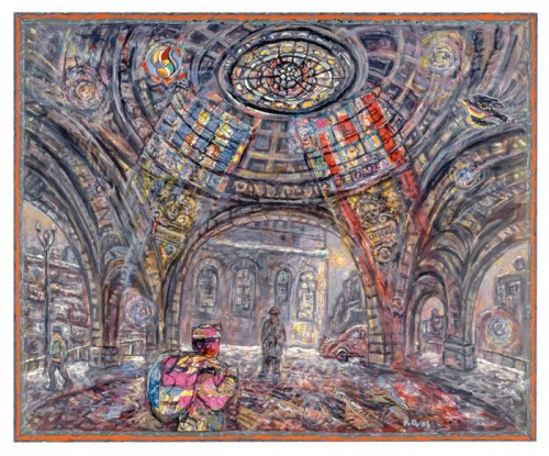Robert Qualters - Penn Station Rotunda, 2006, acrylic and collage on canvas, 42x48""