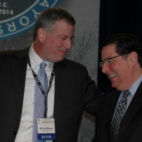 Pittsburgh Mayor Bill Peduto with NYC Mayor Bill de Blasio.  Photo Credit: US Conference on Mayors