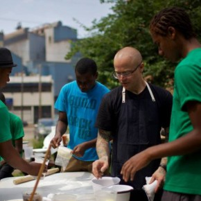 Chef Sousa at the Braddock Youth Project training class at the community bread oven. Photo from the Superior Motors Kickstarter.