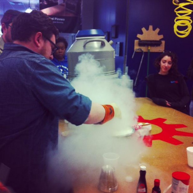TechShop staff testing out the liquid nitrogen ice cream recipe