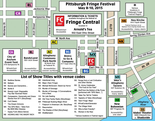 Map of the 2015 Pittsburgh Fringe Festival
