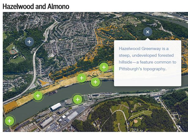 Screenshot from the p4Pittsburgh website about Hazelwood Greenway