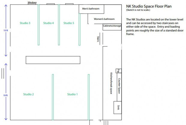 Floor plan of studio space at Neu Kirche.