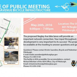 Thur. May 26 – PUBLIC MEETING on Negley Ave Bike Lanes