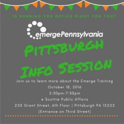 Know a woman that should run for public office? Emerge Info Session in Pittsburgh