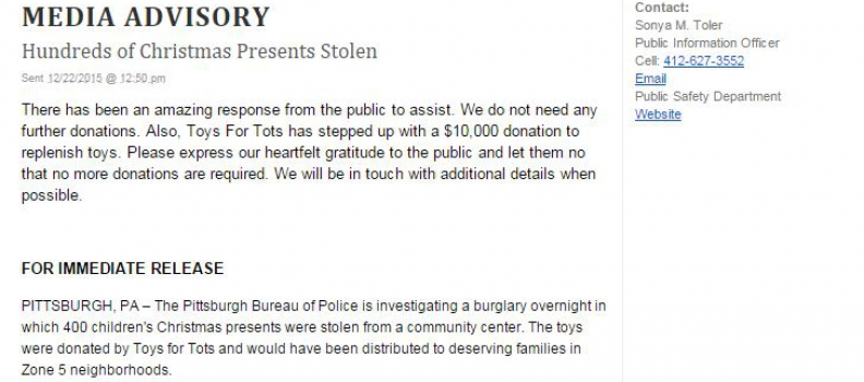 Update Enough Toys Have Been Donated! (Was: Pittsburgh Police Replace Stolen Toys)